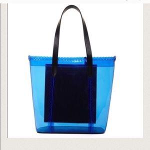 🔥BCBGMAXAZRIA PVC tote bag with leather traps NEW